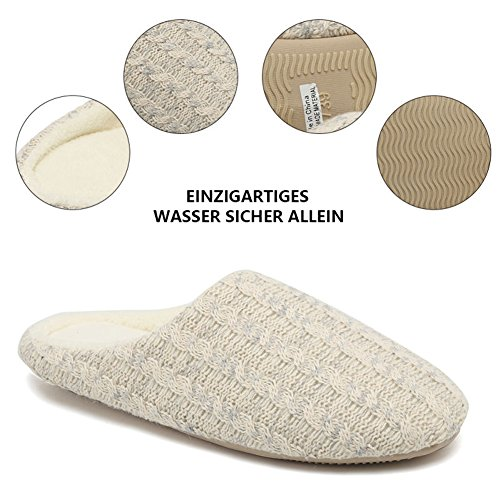 FANTURE Frauen Pantoffeln Kaschmir Baumwolle Aus Anti Rutsch Winter Warm Atmungsaktiv Indoor Schuhe Beige