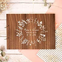 Wedding guest book | personalised white leaf circle guestbook for weddings | wooden | alternative wood books