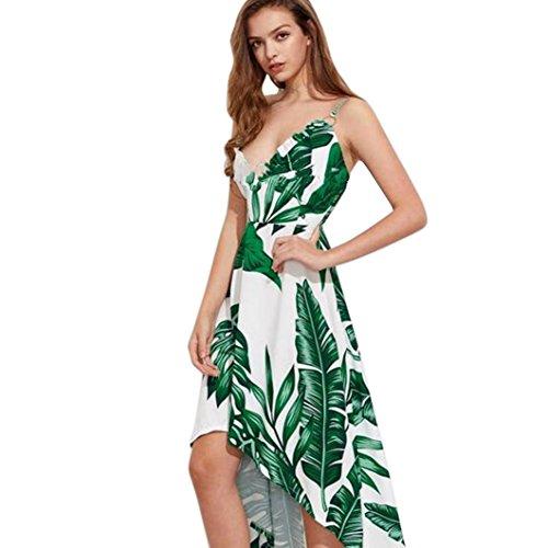 Damen Kleider,LMMVP Frauen Blumen Strand Asymmetrische Kleid (M, Green) (Sheer Cap Grün)