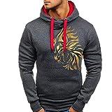 VRTUR Herbst Hoodie Winter Sweatshirt Zur Seite Fahren Gedruckt Outwear Bluse Kapuzenpullover Top Bluse(M,Dunkelgrau)