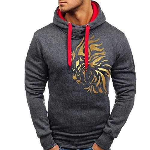 HUIHUI Herren Bekleidung 187 strassenbande Pullover Winter Kapuzenpullover Polo Sweatshirt (Dunkelgrau,XL)