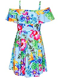 A2Z 4 Kids® Girls Skater Dress Kids Floral Print Summer Party Off Shoulder Dresses Age