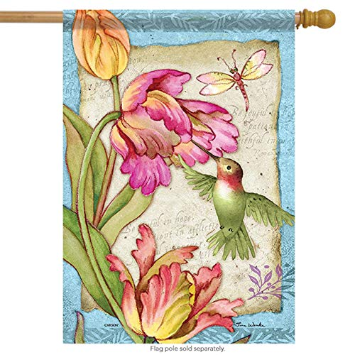 Carson House Flag - Tulips & Hummingbird Decorative Garden Flag Banner for Party Outdoor Home Decor Size: 12.5-inches W X 18-inches H -