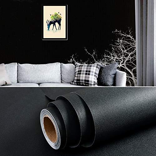 Carta da parati autoadesiva addensante carta da parati impermeabile può essere decorata camera da letto adesivi murali sfondo casa 0,6 m * 10 m nero opaco