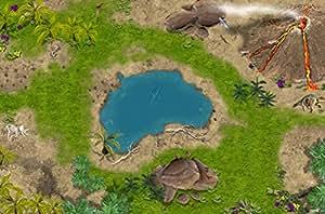 Dinosaure / Age de pierre / Temps primitifs - SM02 - tapis de jeu / Jeu tapis pour la chambre des enfants - Dimensions: 150 x 100cm - Accessoires adaptés à Schleich, Papo, Bullyland, Playmobil etc.
