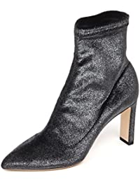 Jimmy Choo E6574 Tronchetto Donna Dark Grey Stretch Metallic Velvet Boot  Woman ef6a96779f7