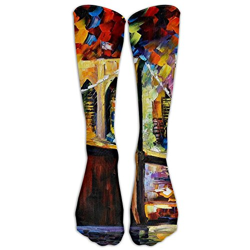 Gorgeous ornaments Brooklyn Bridge Oil Paintings Compression Socks For Mens & Womens Unisex Comfortable Stockings For Sports