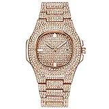 YGMDSL Armbanduhren Damen Stahlstreifen Diamant Spiegel aus Plexiglas Mode Elegant,Pink