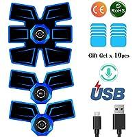 SCKAL Elettrostimolatore Muscolare EMS,ABS Trainer con Trasmissione Vocale Intelligente e Ricarica USB, Stimolatore Addominali per Addome/Braccio/Gambe/Waist/Glutei-Cintura Addominale Portatile