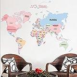 PLYY Farbe Englisch Brief Weltkarte Wandaufkleber Büro Wohnzimmer Schlafzimmer Wandaufkleber