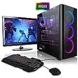 """Megaport Super Méga Pack - PC Gamer Complet 6-Core AMD Ryzen 5 • Ecran LED 24"""" • Claviers de Jeu et Souris • GeForce GTX1060 6Go • 16Go • 240Go SSD • 1To • Win10 PC Gaming PC Complet"""