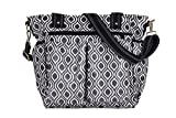 (Black & White) Nappy Changing Bag, Stylish Laminated Water Resistance Multi-function Shoulder Baby Diaper Bag Portable Shopping Handbag with Changing