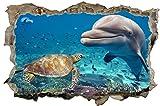 Delfin Riff Schildkröte Meer Natur Tier 3D-Optik Wandtattoo 70 x 105 cm Wandbild Sticker Aufkleber D171