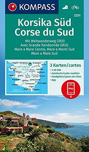KOMPASS Wanderkarte Korsika Süd, Corse du Sud, Weitwanderweg GR20: 3 Wanderkarten 1:50000 im Set inklusive Karte zur offline Verwendung in der ... (KOMPASS-Wanderkarten, Band 2251) -