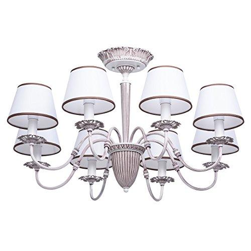 Mw-light 419011108 lampadario da soffitto colore bianco opaco e marrone metallo paralume bianco in stile moderno classico