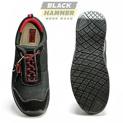 Männer Sicherheitsstiefel Stahlzehenkappe Arbeitsschuhe Fußgelenk Sportschuh Wanderschuh Zwischensohle Schutz 4482 Black Hammer