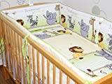 Nestchen Bettumrandung Kopfschutz Für Baby Kind - Safari grün - 190cm, 360 cm, 420cm für Bett 70x140 cm, 60x120cm 420 cm