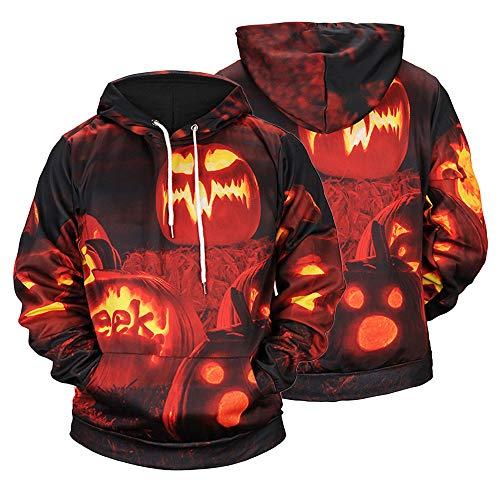 UJUNAOR Männer Damen Casual Scary Halloween Kürbis 3D Gedruckt Party Langarm Hoodie Top Bluse Mit Kapuze(Orange,CN 3XL)