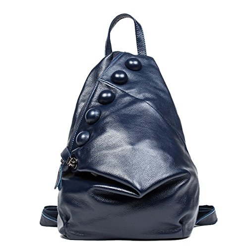 Keshi Neu Faschion Rucksäcke Damen Mädchen Schüler Lässige Canvas Rucksack Vintage Backpack Daypack Schulranzen Schulrucksack Wanderrucksack Schultasche Rucksack für Freizeit Outdoor Sport Leder Blau