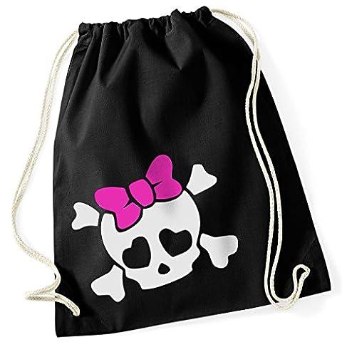 Skull Girl/tête de mort fille/noeud papillon rose et cœur Yeux/100% coton sac de gym avec inscription et motif/uni Taille unique, unisexe/Idée cadeau/couleurs: noir, blanc/sac à dos sac, jute choulgan-tach, jute Sacs Hipster Fashion/vanverden, noir, taille unique