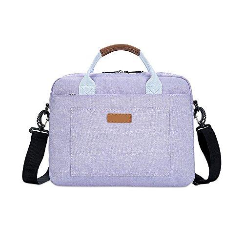 Jia HU 1großes Fassungsvermögen Laptop Aktentasche Messenger Tasche Portfolio Tablet Fall Business College violett