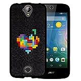 WoowCase Acer Liquid Z330 Hülle, Handyhülle Silikon für [ Acer Liquid Z330 ] Pixel- Multifarbiges Herz Handytasche Handy Cover Case Schutzhülle Flexible TPU - Schwarz
