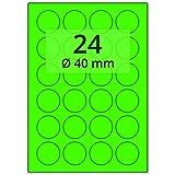 Labelident farbige Etiketten leuchtgrün - Ø