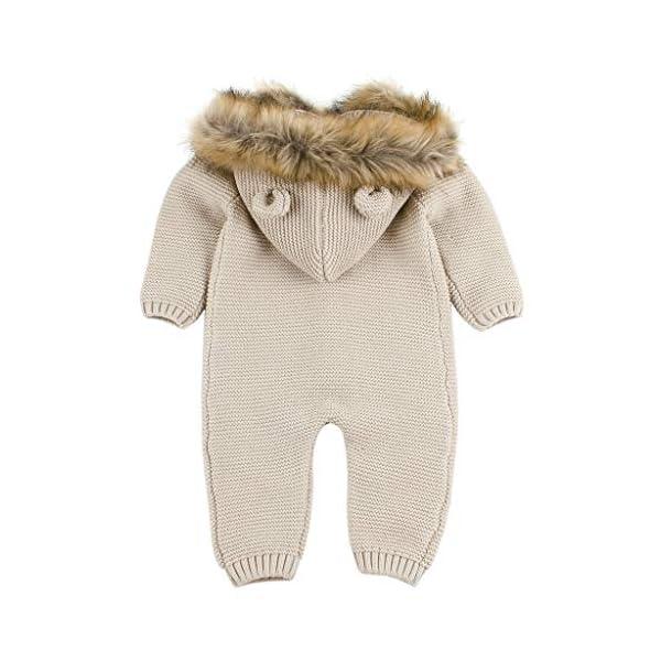 MYONA Bebé Mameluco con Capucha, Mono Recién Nacido de Punto con Botones Suave Bodies Bebé Manga Larga Calentar Pijama… 2