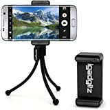 igadgitz Negro flexibles Mini Trípode de Mesa con Clip de bolsillo + Soporte Adaptador Premium para Smartphone