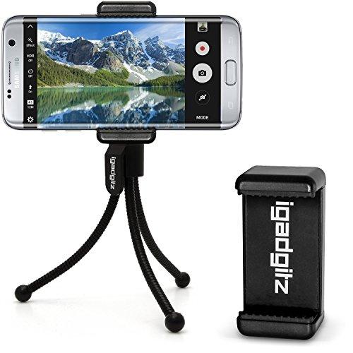 iGadgitz Black Flexible Mini Table Top Tripod with Pocket Clip + Premium Smartphone Holder Mount Bracket Adapter