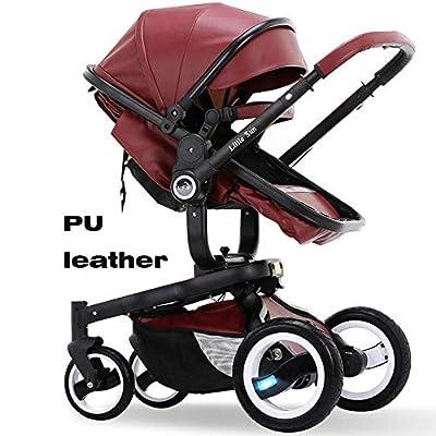 CCJW PU High End 2 In 1 Baby Stroller Newborn Carriage Infant Travel Car Foldable Pram Car Travel High Landscape Stroller (Color : Jujube red)