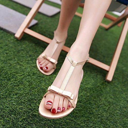 UH Femmes Sandales Laniere en T à Talons Plates avec Petite Noeud Bout Ouvert Simple et Confortables Or