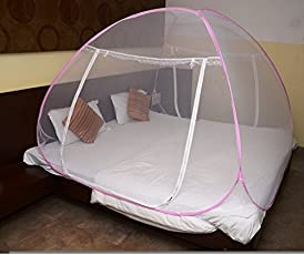 Classic Mosquito Net - Foldable, King Size Double Bed With Saviours - (Pink)