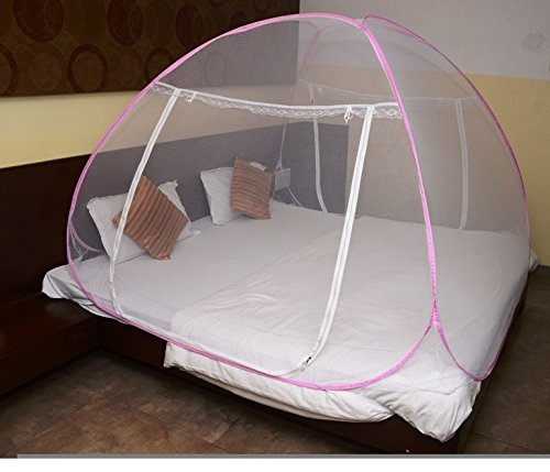 Classic Mosquito Net - Foldable, King Size Double Bed With Saviours - (Pink) Image 2