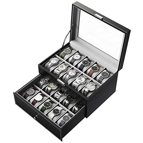 CRITIRON Uhrenbox für 20 Uhren Aufbewahrung Uhrenkoffer Uhrenkasten Uhrenvitrine Schmuckkästchen Uhrenschatulle Schaukasten aus PU Schwarz (20uhren)