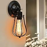 COSTWAY Antik Vintage Retro Wandleuchte Lampe Industrielampe Außenwandleuchte Wandlampe Treppenlampe Badlampe Flurlampe Pendellampe mit Vogelkäfig-Lampeschirm verstellbar E27 / 40W Glühbirne