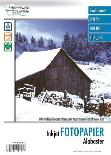 "Schwarzwald Mühle Inkjet Fotopapier: 100 Bl. Fotopapier ""Alabaster"" matt 110g/m² A4 (Tintenstrahl-Papiere)"