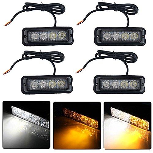 niceEshop(TM) Emergency Vehicle Light Bars 12V-24V Warnung Blinkende LED Strobe Leuchten für Trucks Pickup RVs Autos, 4Stk (Strobe Light Pickup)