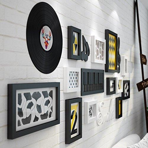 Ensemble de 12 cadres, cadres en bois de pin Cadres photo Combinaison fond mur mur photo pour la chambre/avec photos @The harvest season (Couleur : Noir+blanc)