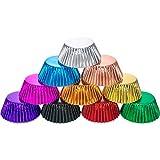 10 Colores de Molde de Magdalenas de Papel Metálico Molde de Repostería Papel de Horneado de Mollete (200 Piezas)