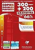 Clairefontaine 14791c Copie doubles Seyes Grand carreaux Paquet de 300 + 200 gratuit