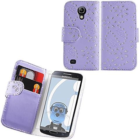 iTALKonline Samsung i9192 Galaxy S4 Mini PU Pelle LILLA BLING DIAMANTE FOGILA Vibrazione esecutivo Wallet Case Cover Prenota con Carta di Credito / porta biglietti da visita e la protezione dello schermo LCD più in Microfibre panno di pulizia