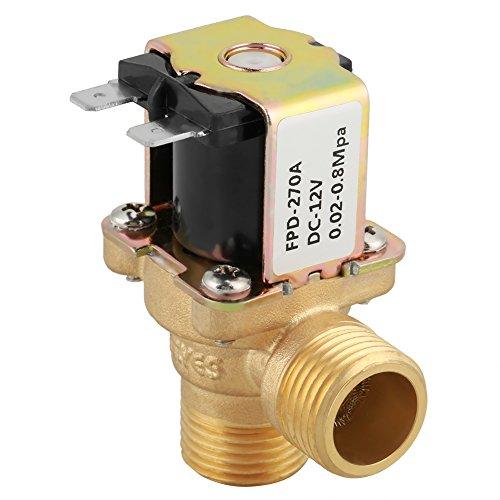 Magnetventil, DC 12V DN15 G1 / 2 Messing Elektromagnetventil N/C Normal geschlossener Schalter mit Filter, Feuchtigkeitsschutz und Korrosionsschutz für elektrische Geräte usw. -