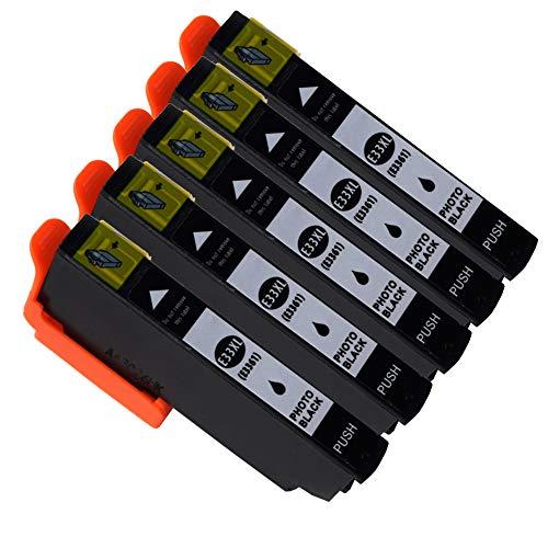 Ouguan Compatibile per Cartucce Epson 33XL 33 per Epson XP-640 XP-530 XP-830 XP-645 XP-540 XP-900 XP-630 XP-635 XP-7100-5 Foto Nero