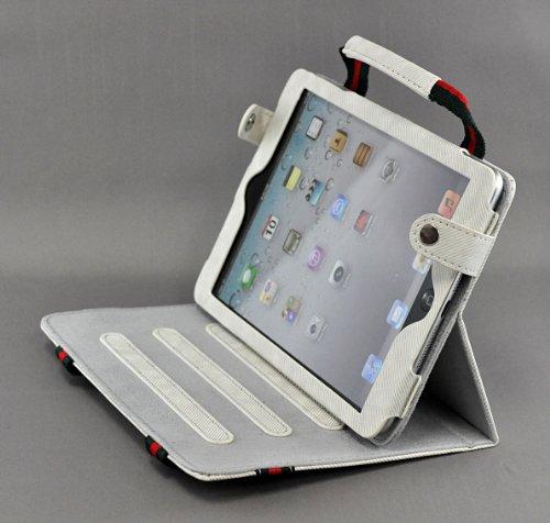 livitech (TM) New Tragbar Stoff Handtasche Ständer Schutzhülle Haut für Apple iPad Mini 321Generation Weiß
