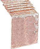 QueenDream Paillette Argent Paillettes Chemin de Table pour fête de Mariage 35,6x 203,2cm Chemin de Table à Sequins, Rose Gold, 14''x80''