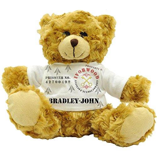 bradley-john Eigentum der ivorwood strafvollzugsanstalten Anlage,-Personalisiert Stecker Namen Gefangene Plüsch Teddy Bär (22cm) - Bradley Bar
