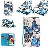 Qiaogle Téléphone Coque - PU Cuir rabat Wallet Housse Case pour Samsung Galaxy A3 (2016) / A3 (2016) Duos / A3100 (4.7 Pouce) - YB18 / Retro Bleu Papillon