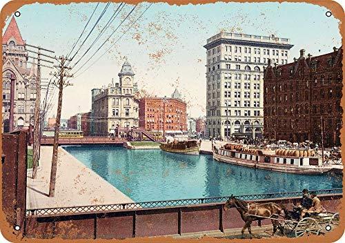 Yohoba 1900 Metallschilder, Motiv: Erie Canal at Salina Stet Syracuse Vintage Look, 20,3 x 30,5 cm Syracuse Restaurant