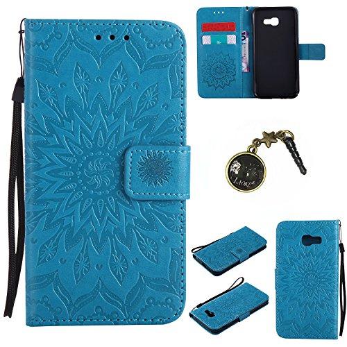für Smartphone Samsung Galaxy A5 2017 Hülle, Leder Tasche für Samsung Galaxy A5 2017 Flip Cover Handyhülle Bookstyle mit Magnet Kartenfächer Standfunktion ( + Staubstecker)